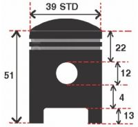 Pistoane Dio 50 39mm STD Bolt 12